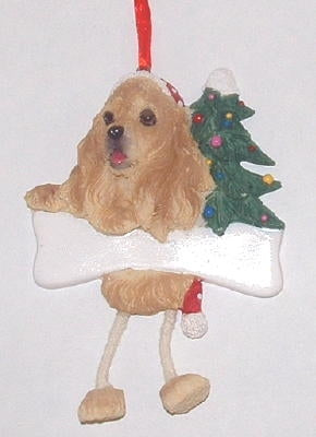 Blonde Cocker Spaniel Dangling Dog Christmas Ornament
