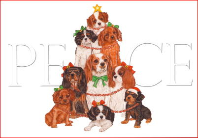Cavalier King Charles Spaniel Peace Christmas Cards