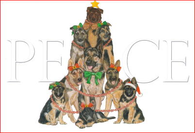 German Shepherd Peace Christmas Cards