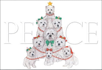 Westie Peace Christmas Cards
