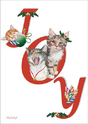 "Cat Christmas Cards ""JOY"""