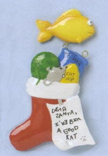 Cat Stocking Christmas Ornament