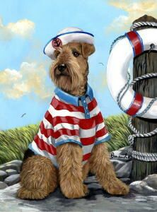 "Airedale Garden Flag  ""the skipper"""