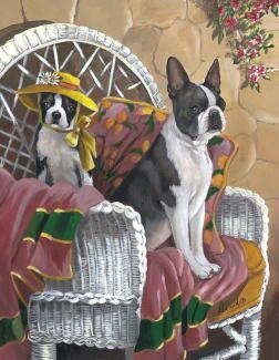 "Boston Terrier Garden Flag ""Patio Gems"""