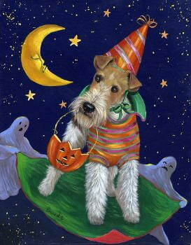 "Fox Terrier Garden Flag ""Halloweenie"""