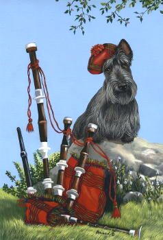 "Scottish Terrier Garden Flag ""Scotty Piper"""