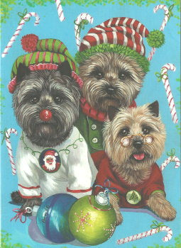 "Cairn Terrier Christmas Cards ""Cairn Elves"""