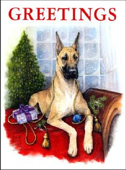 "Great Dane Christmas Cards ""Greetings"""