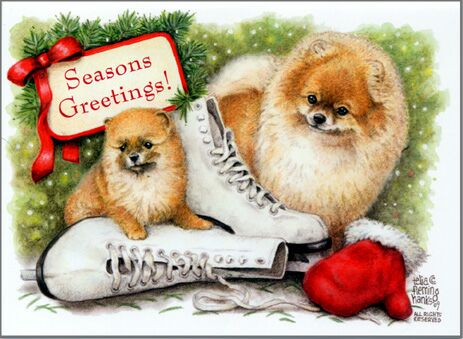 "Pomeranian Christmas Cards ""Seasons Greetings"""