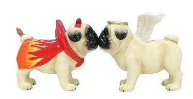 Angel ~ Devil Pug Salt and Pepper Shakers