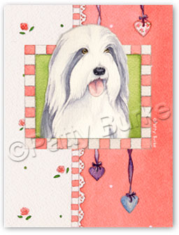 "Bearded Collie Garden Flag ""Heartstrings"""