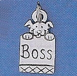 "Pewter Dog Collar Charm ""Boss"""
