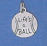 "Pewter Dog Collar Charm ""Life's a Ball"""