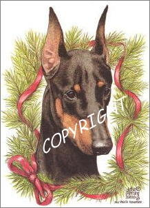 "Doberman Pinscher Christmas Cards ""headstudy"""