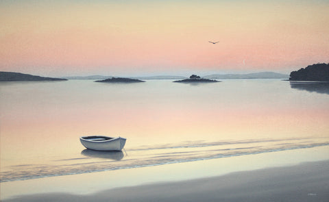 Brother and Sister Island, White Beach, Tasmania. Oil painting by Richard Stanley.