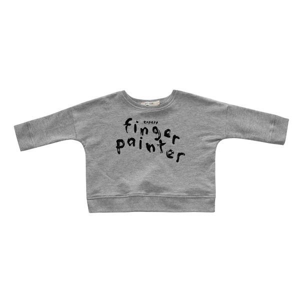 Kid+Kind - 'Finger-Painter' Oversized Sweatshirt - Heather Grey