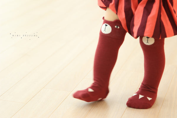Bear knee high socks, marsala maroon, tiny olive tree