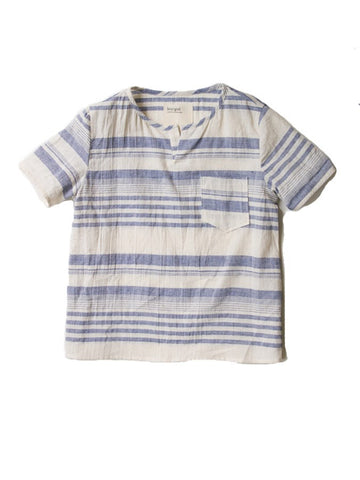 Boy+Girl - Short Sleeve Kurta - Blue Stripe