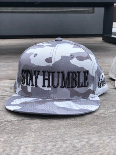 Unisex Snapback Hat | 3D Stay Humble | Gray Camo