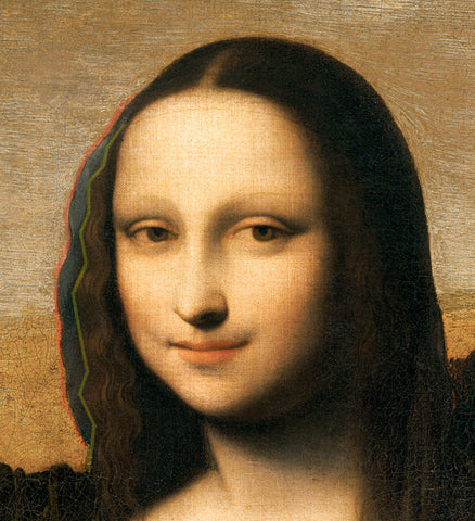 isleworth mona lisa up close showing where hair was extended out with plaster based on raphael sketch picture