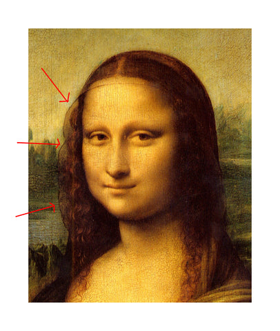 just mona lisa head up close showing veil photo louvre