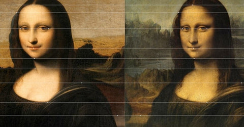 symmetrical proportional lines show similarities in louvre and isleworth mona lisa when side by side