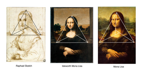 raphael sketch isleworth mona lisa and lourve mona lisa all with perfect triangle on top comparison between top of head and base of pillars