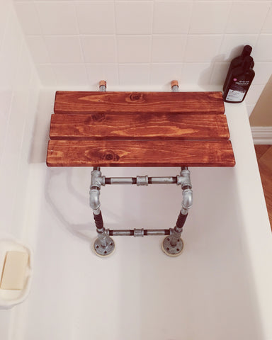 tailor x taylor work bench galvanized pipe wood shower seat etsy