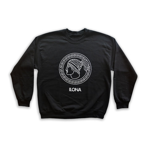 Black Crew Neck Sweater w/ Goddess Emblem