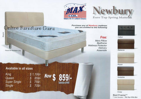 Maxcoil Newbury Euro Top Spring Mattress With Free Bed Frame Sale ...