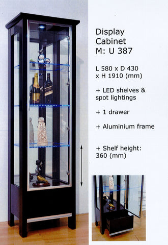 Glass Display Cabinet   With LED Lightings   Online Furniture Singapore