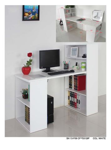 Bookshelf With Study Table  White