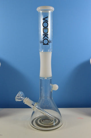 "18"" white and gold beaker by vodka glass."