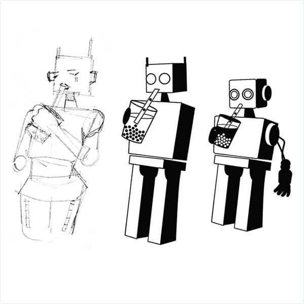 Initial sketches of Boba Bot
