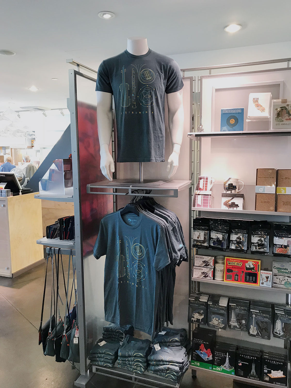 LA Phil t-shirts displayed in store