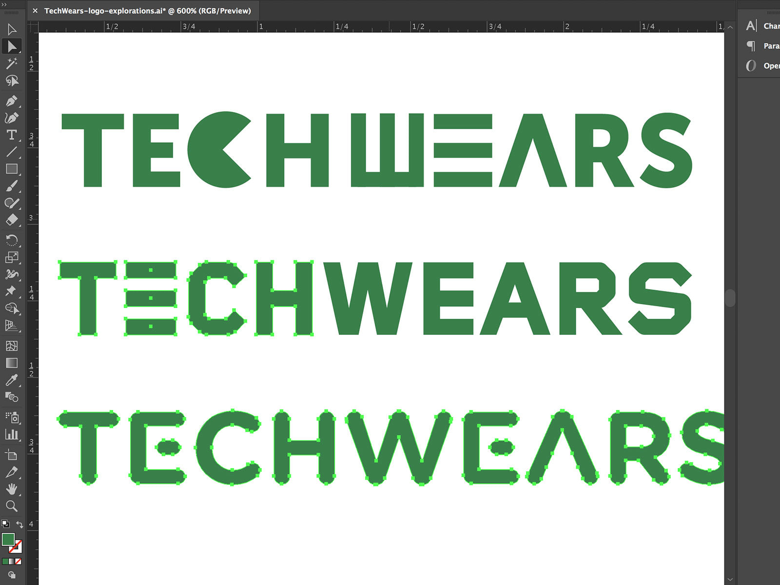 Typography sketches for TechWears logo