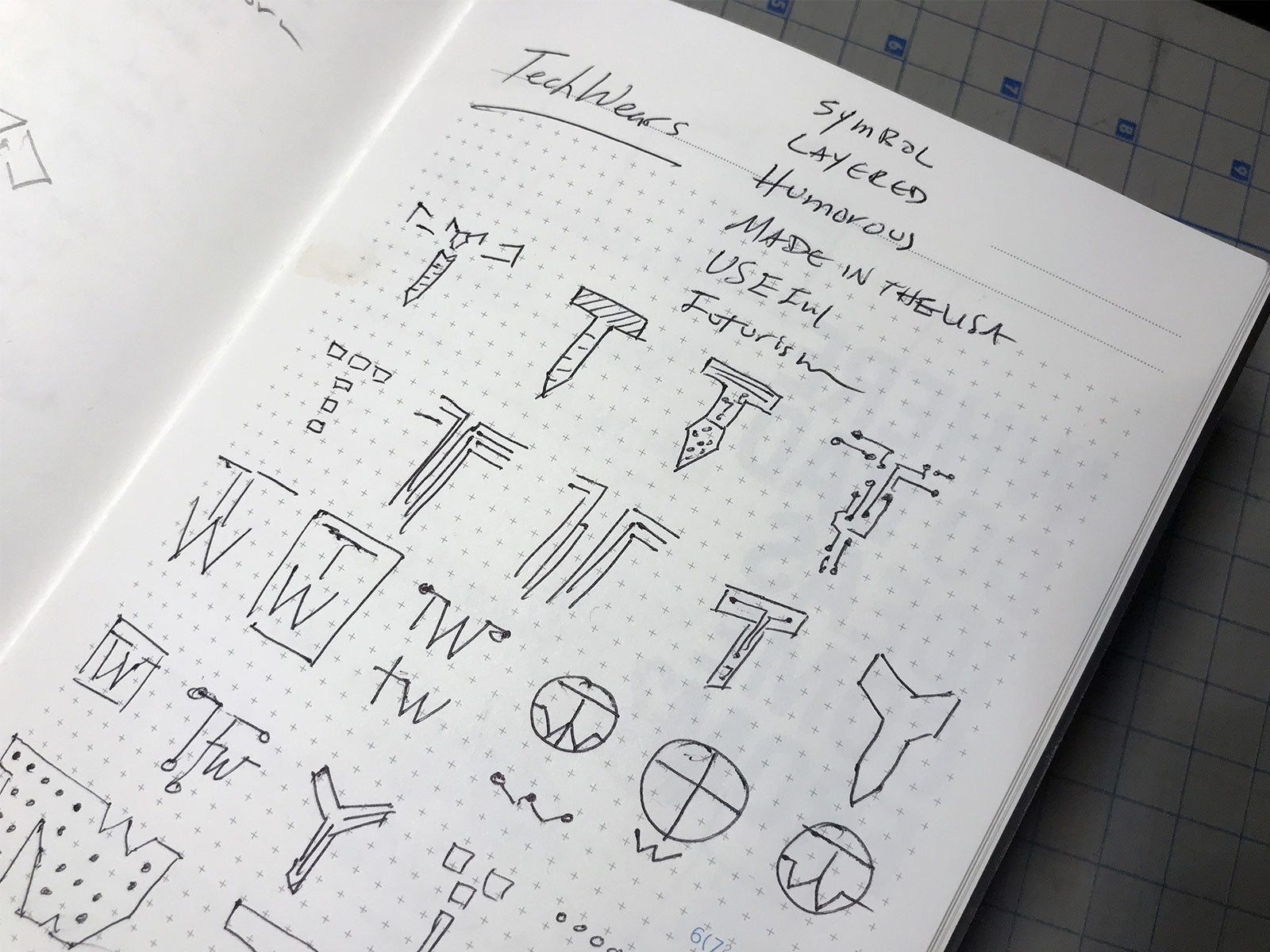 Initial sketches of TechWears logo redesign