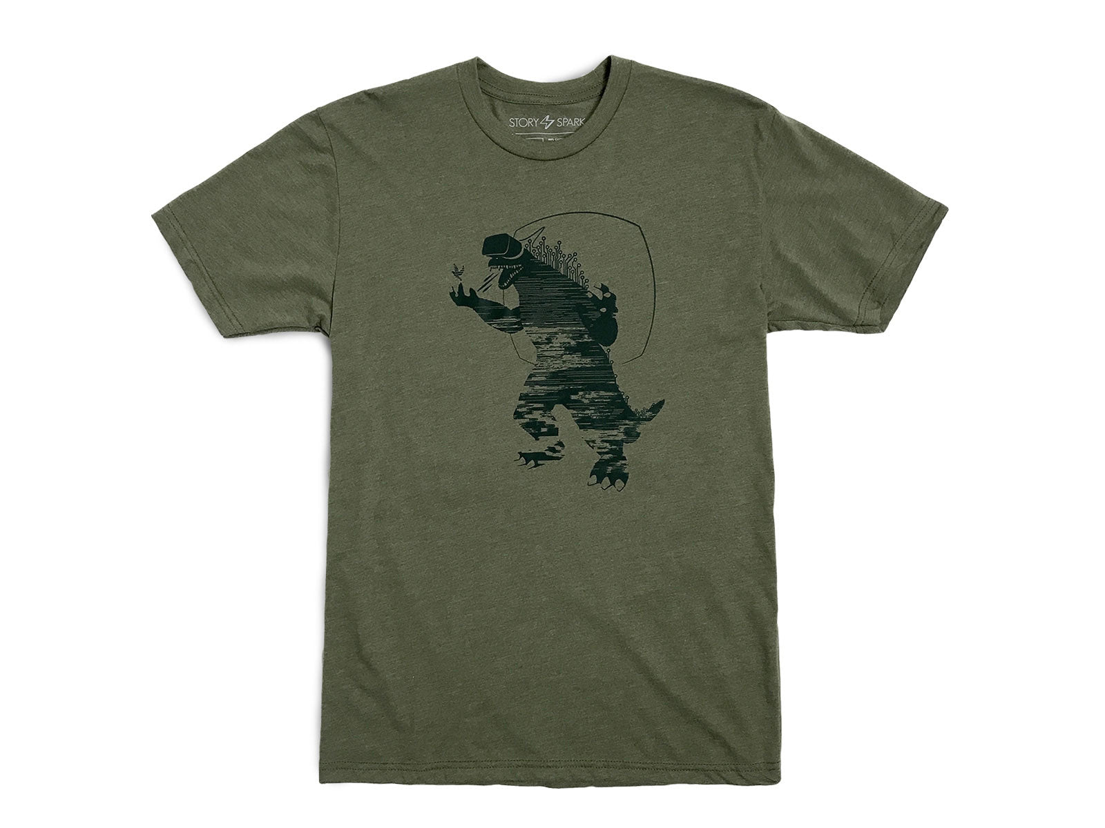 Mixed Reality graphic tshirt - virtual reality godzilla
