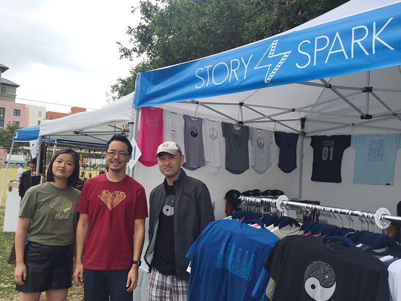 Team Story Spark with our tech-inspired graphic t-shirts