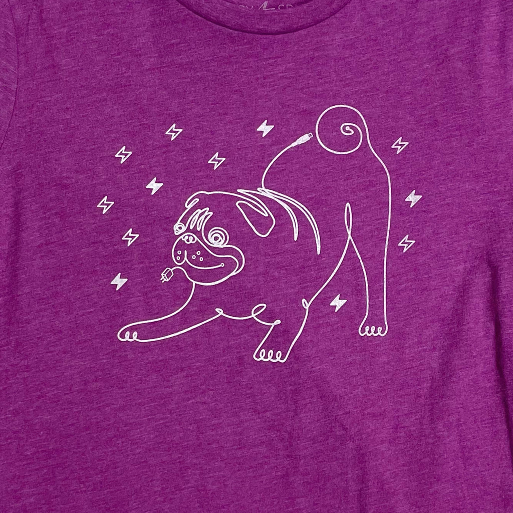 Pug T-shirt for Women in Tech, Gift for Dog Lovers