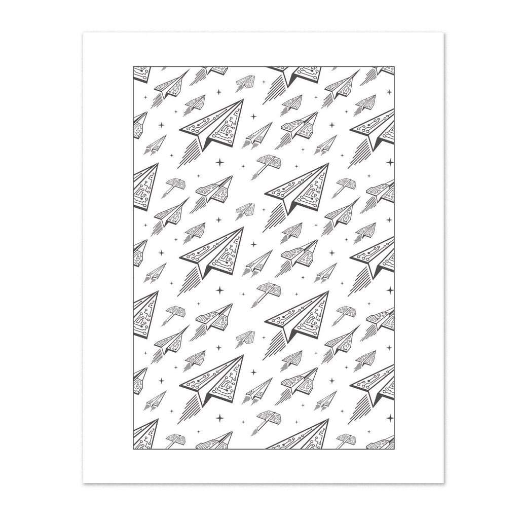 Techy Paper Airplanes Silver Foil Art Print