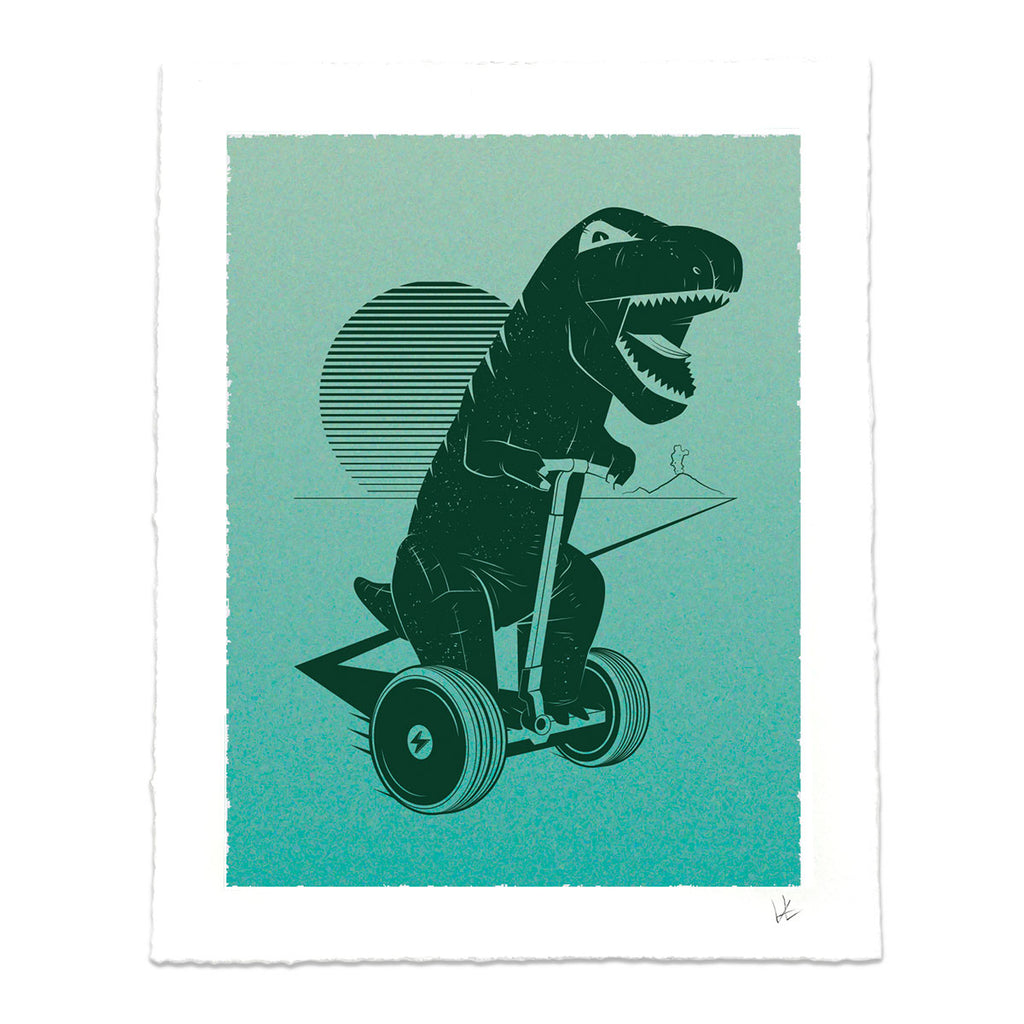 Dinosaur Riding Scooter Graphic T-shirt for T-Rex Lovers and Gadget Geeks
