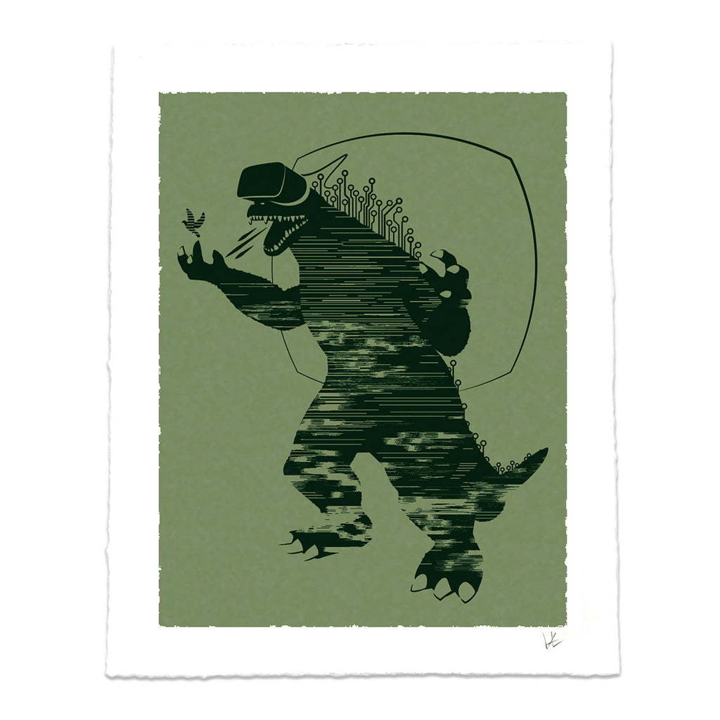 Virtual Reality Kaiju Art print gift idea for geeks and techies