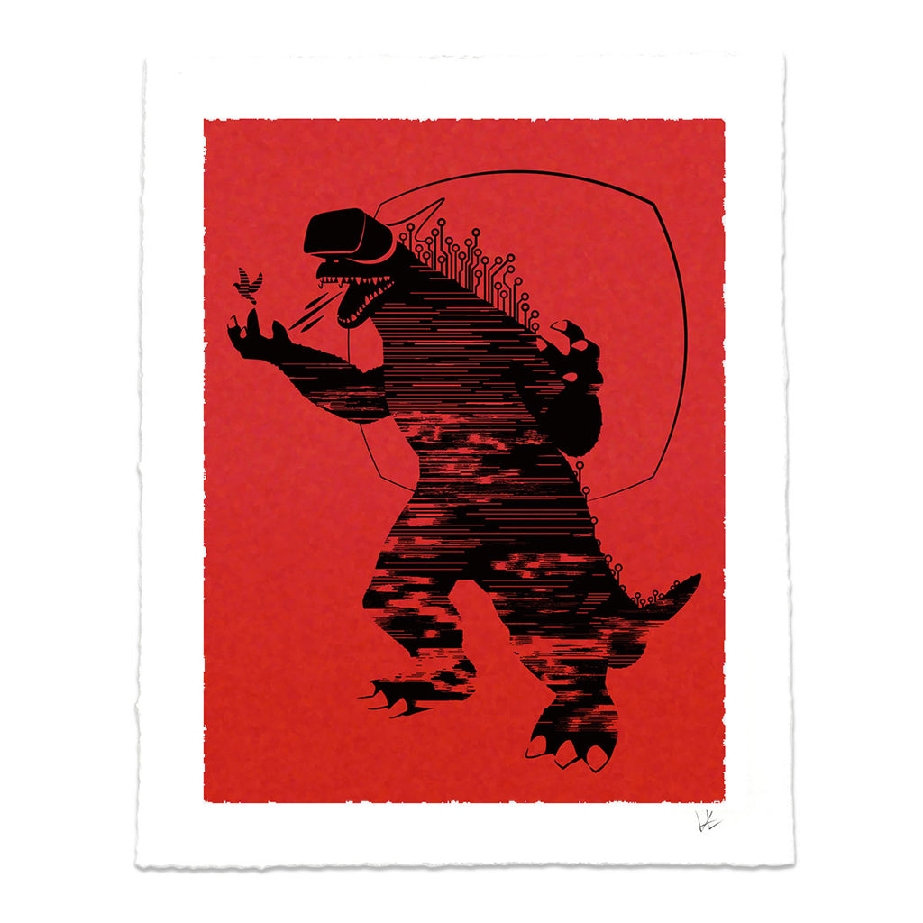 Virtual Reality Monster Art print gift idea for geeks and techies