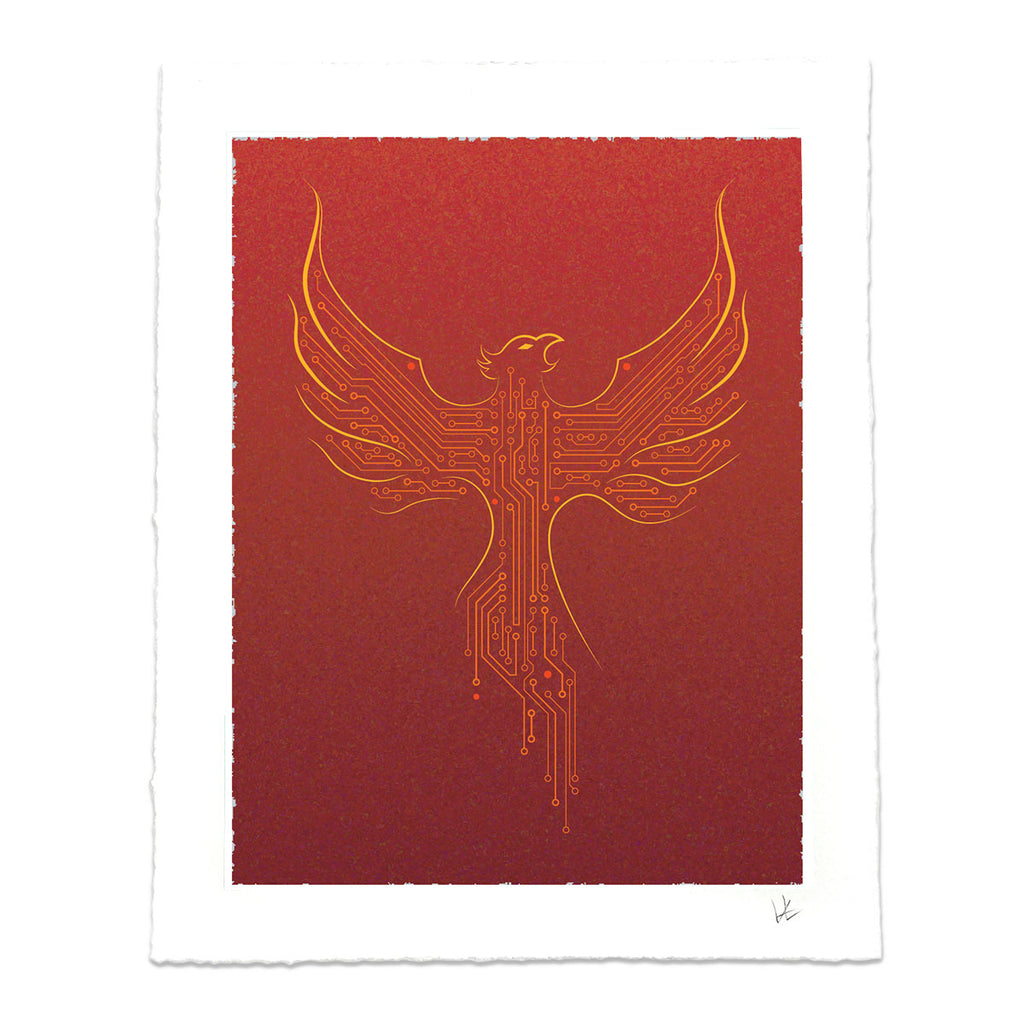 Techy Phoenix Rising Art Print in Crimson Red