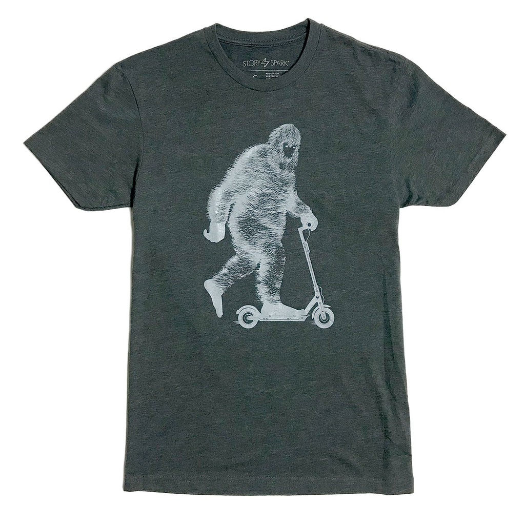 Glow in the Dark Bigfoot on an Electric Scooter Graphic Tee