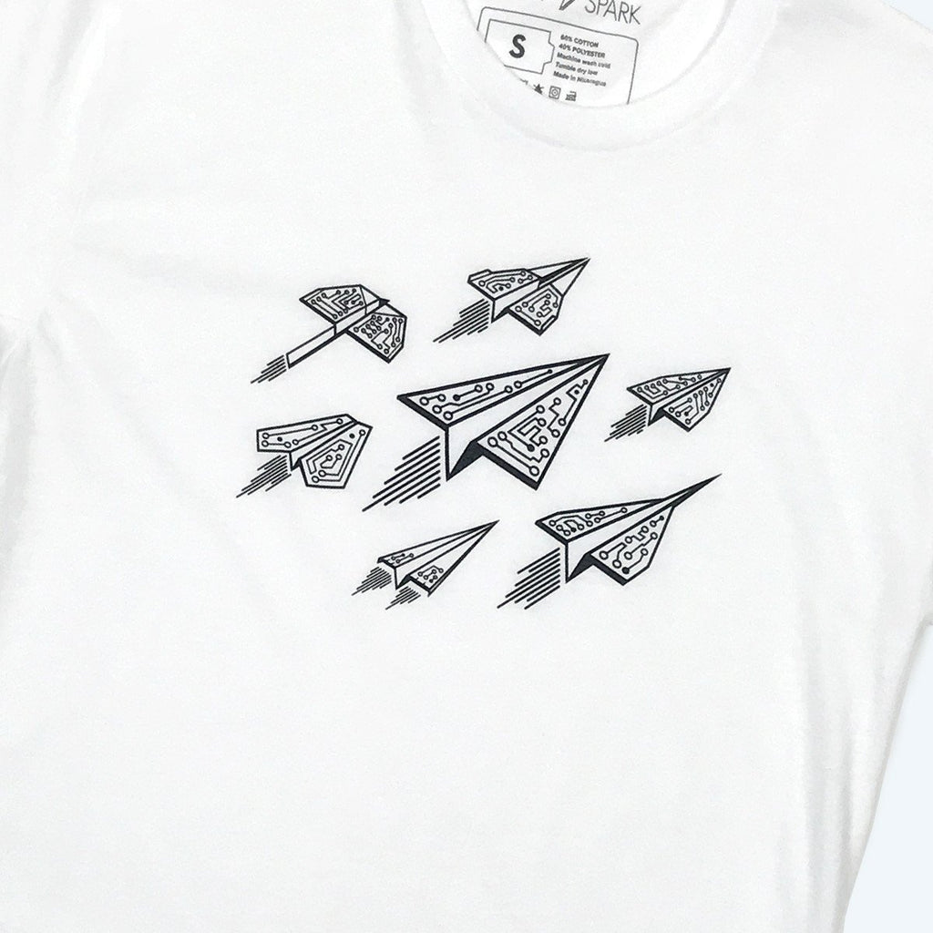 Ascend - Paper Airplanes - Techy Graphic T-Shirt (White) - STORY SPARK