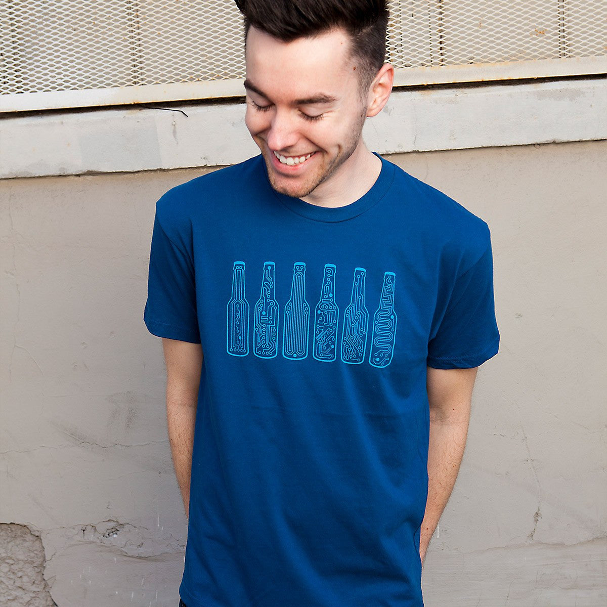 02d7bd39d40 BAR CODE Graphic T-Shirt - beer shirt in blue for techies and geeks