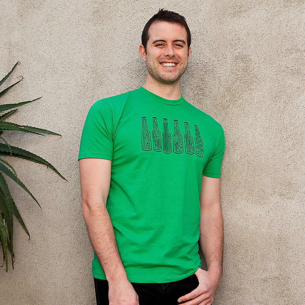 Bar Code T-Shirt (Green) - Techy Beer Bottles