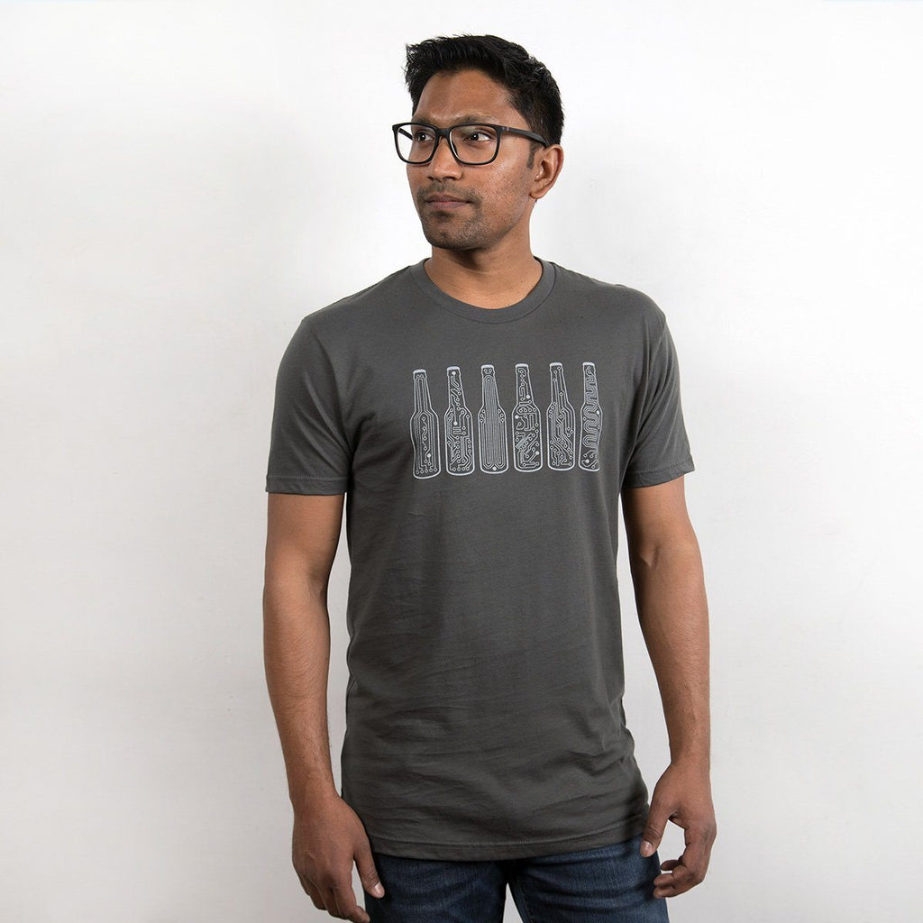 Bar Code Graphic Tee - Circuitboard Beer Bottles